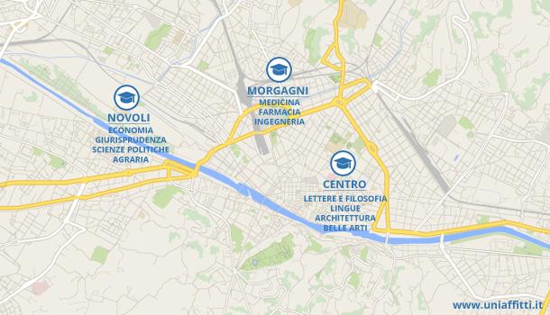 Mappa sedi università Firenze