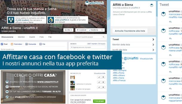 Affittare casa con facebook e twitter