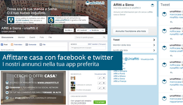 Affittare casa con facebook, telegram e twitter